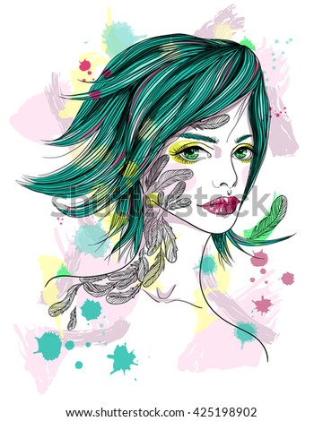 Portrait of a girl with a tattoo. The girl-bird on abstract background. Fashion vector illustration. Print for T-shirt - stock vector