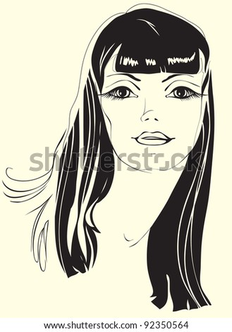 portrait of a girl with black hair. Painted silhouette beautiful woman
