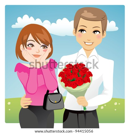 Portrait of a handsome man surprising a beautiful woman giving a red rose bouquet as love present - stock vector