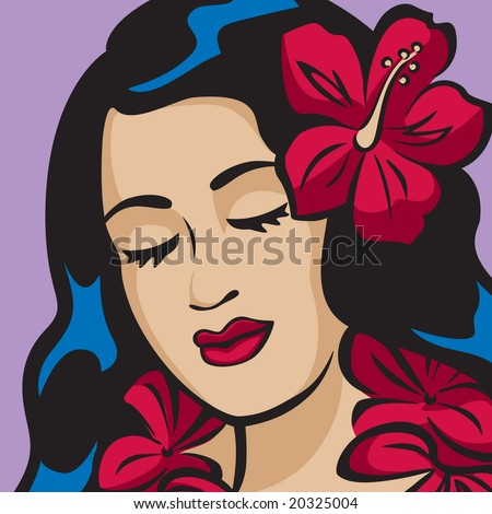 Portrait of a Hawaiian Hula Girl - stock vector