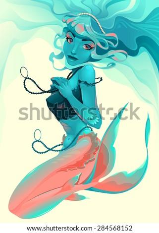 Portrait of a mermaid. Vector illustration. - stock vector