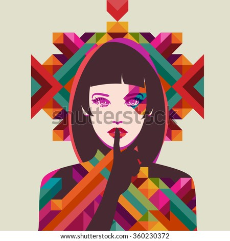 Portrait of a woman, eps10 vector - stock vector