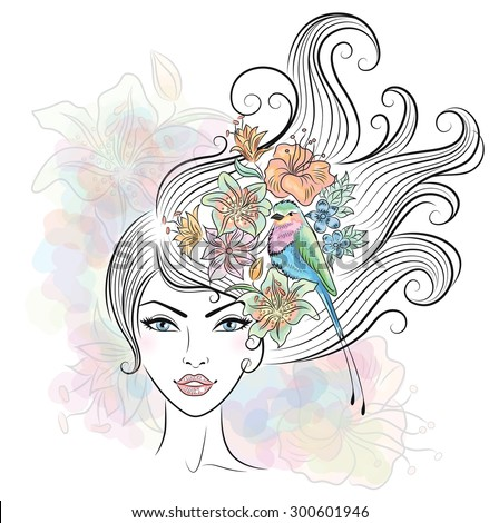 Portrait of a woman with tropical flowers and a bird in her hair. - stock vector
