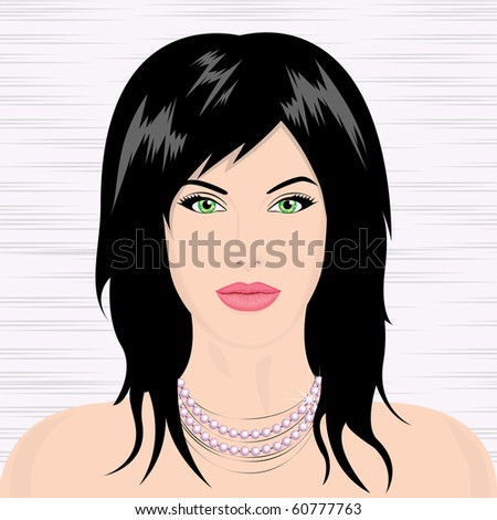 Portrait of a young beautiful girl on an abstract background. Vector illustration.