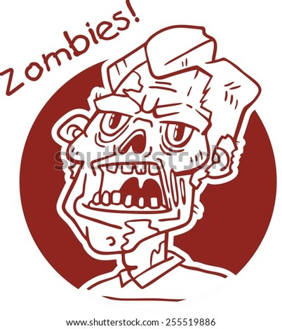 portrait of an angry zombie red circle - stock vector