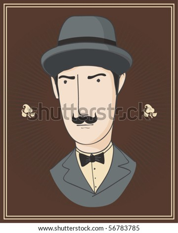Portrait of an Old Detective - stock vector