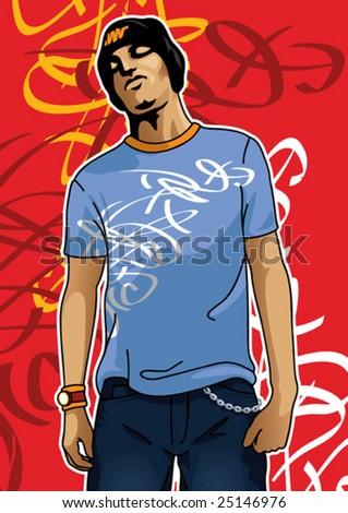 Portrait of an urban boy - stock vector