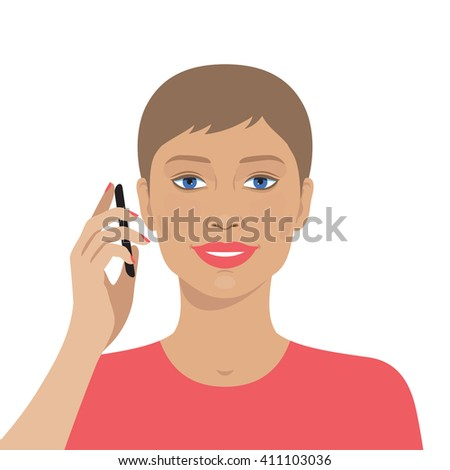 Portrait of attractive woman talking on the mobile phone. Vector illustration of beautiful woman. Technology and communication. Flat design. Cute avatar portrait of smiling woman face. - stock vector