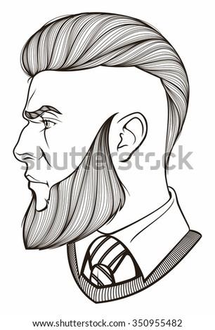portrait of bearded man - stock vector