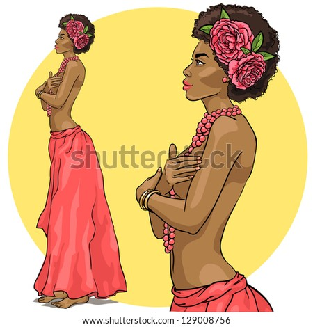 Portrait of beautiful African woman in long skirt, necklace, with flowers in her hair. Hand drawn - stock vector