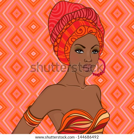 Portrait of beautiful African woman with earring - stock vector