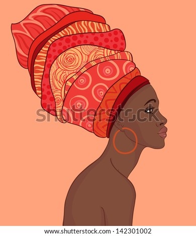 Portrait of beautiful African woman with earring (profile view) - stock vector