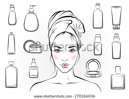 Portrait of  beautiful girl and set of isolated cosmetic products