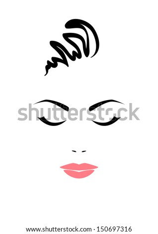 Portrait of beautiful woman with closed eyes on white background. Vector version. - stock vector