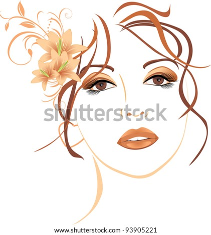 Portrait of beautiful woman with lilies in hair. Vector - stock vector