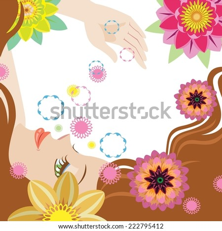 Portrait of beautiful young woman in sensual state covered with flowers. Vector Illustration - stock vector