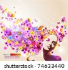 Portrait of beautiful young woman in sensual state covered with flowers. Vector Illustration. Eps10. - stock photo