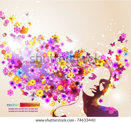 Portrait of beautiful young woman in sensual state covered with flowers. Vector Illustration. Eps10. - stock vector
