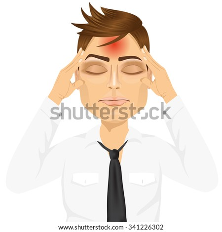 portrait of businessman touching his temples suffering a terrible and painful headache isolated over white background - stock vector