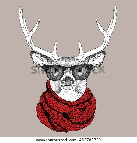 Portrait of deer in a winter scarf. Vector illustration