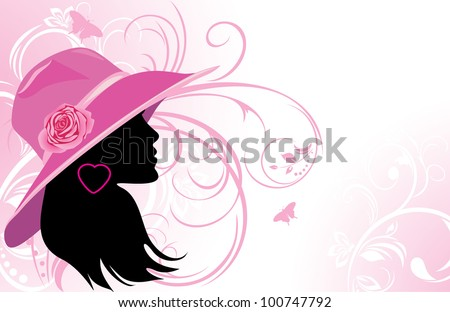 Portrait of elegant woman in a hat. Fashion background. Vector - stock vector