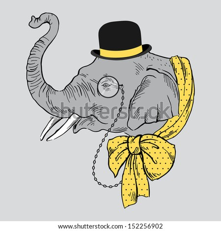 Portrait of Elephant in Bowler Hat, Monocle and Yellow Bow Isolated on White Background - stock vector
