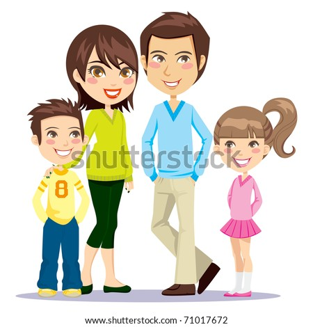 Portrait of four member family posing together smiling happy - stock vector