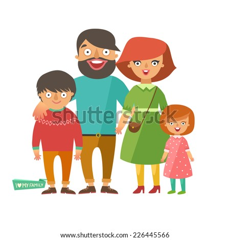 Portrait of four member happy stylish family posing together. Parents with kids. Vector colorful illustration in flat design isolated on white