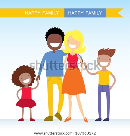 Portrait of four member of mixed race family posing together and happy smiling - stock vector
