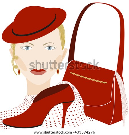 Portrait of girl with accessories - stock vector