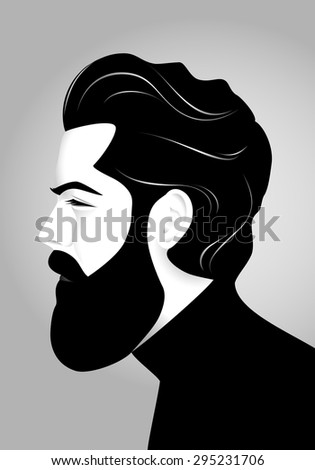 Portrait of handsome bearded serious man in gray-scale, side view - stock vector