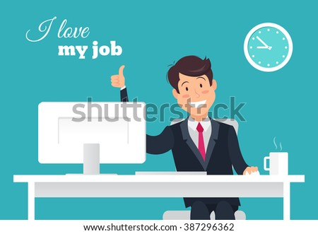 Portrait of handsome relaxed office worker at his desk doing thumb up sign and smiling. I love my job concept. Eps 8 - stock vector