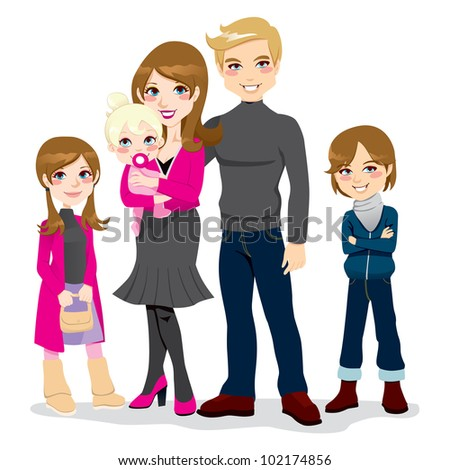 Portrait of happy beautiful family posing together smiling - stock vector