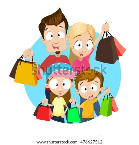 Portrait of happy family carrying shopping bags over white background