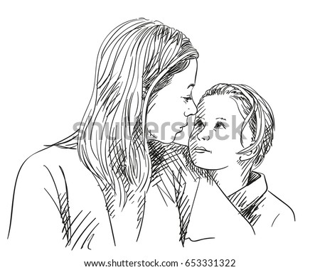Portrait of happy mother and daughter looking at each other, Vector sketch isolated on white, Hand drawn line art illustration