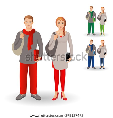 Portrait of happy smiling student or young man standing with folder and young women standing with tablet, isolated on white background. Vector illustration. Family, brother and sister. Set. - stock vector