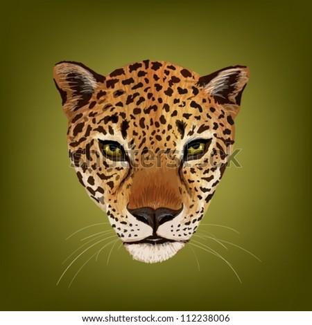 portrait of jaguar vector - stock vector
