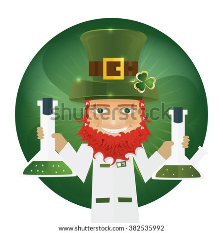 Portrait of Leprechaun Scientist holding flask in hands. Irish man with clover leaf and hat. St. Patrick's Day design with copy space. Vector illustration.