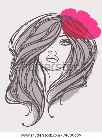 Portrait of long haired girl with flower. Vector illustration. - stock vector