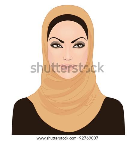Portrait of muslim beautiful girl  in hijab, vector illustration - stock vector