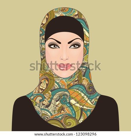 Portrait of muslim beautiful girl in patterned hijab, vector illustration - stock vector
