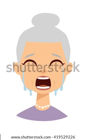 Portrait of old woman crying face and portrait sadness granny crying face. Crying face adult person unhappy depression woman and crying face old grandmother tearfully. Despair woman tears on face. - stock vector