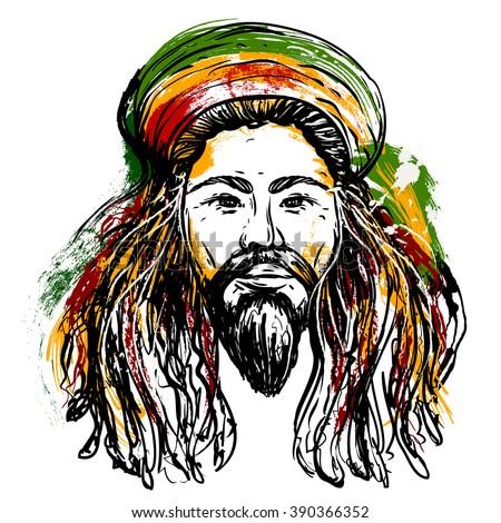 Portrait of rastaman. Jamaica theme. Reggae concept design.  Tattoo art. Hand drawn grunge style art. Retro banner, card, t-shirt, bag, print, poster.Vintage colorful hand drawn vector illustration - stock vector