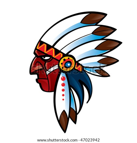 Portrait of red skin Indian Chief - stock vector