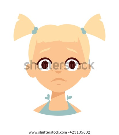 Portrait of sad girl and sadness girl face. Sadness girl Sadness girl Sadness girl Sadness girl - stock vector