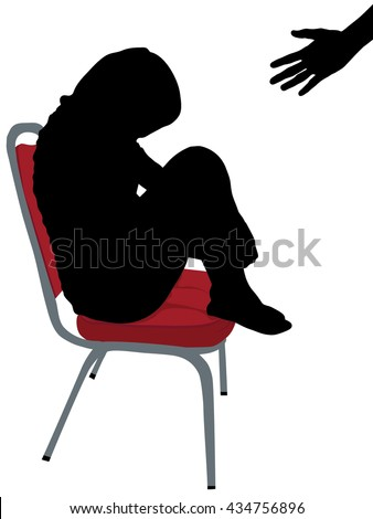 Portrait of stressful young woman sitting on red chair with a hand coming out offers help, Sad and depressed girl, silhouette concept, Homeless girl silhouette picture  - stock vector