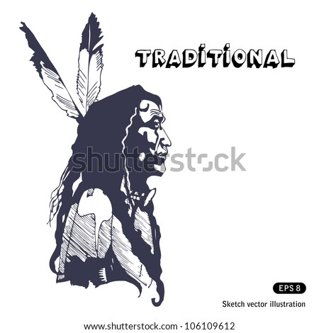Portrait of the Indian with two feathers in hair. Hand drawn sketch illustration isolated on white background - stock vector