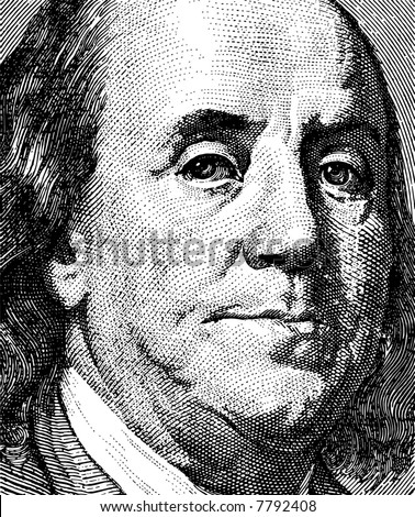 Portrait of the president Franklin - stock vector