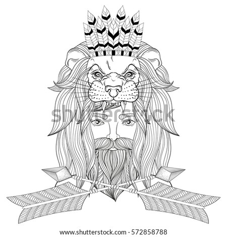Portrait vintage man lion head mask stock vector 572858788 for Lion mask coloring page