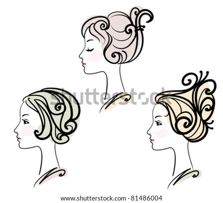portrait of three female with stylized hairstyles - stock vector